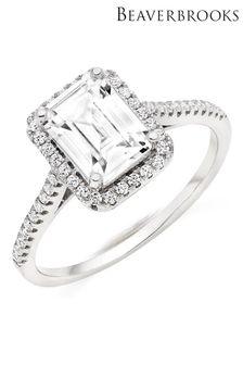Beaverbrooks Silver Cubic Zirconia Halo Ring
