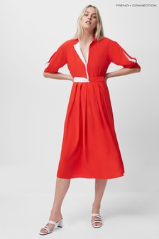French Connection Red Aiden Drape Contrast Shirt Dress