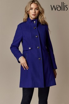 Wallis Petite Blue Funnel Coat
