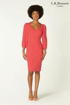 L.K.Bennett Pink Josephine Scoop Neck Sleeved Dress