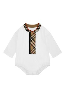 Burberry Kids Baby White Cotton Bodysuit