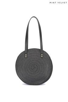 Mint Velvet Drew Black Paper Round Bag