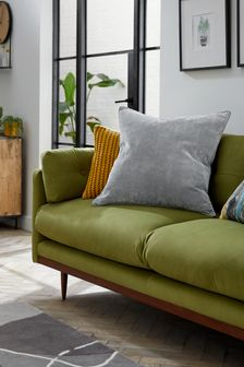Mid Grey Soft Velour Small Square Cushion