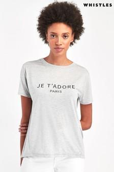 Whistles Grey Je T'adore Paris Logo T-Shirt