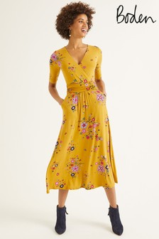 Boden Yellow Carrie Jersey Midi Dress
