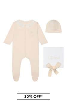 Chloe Kids Girls Pink Cotton Babygrow