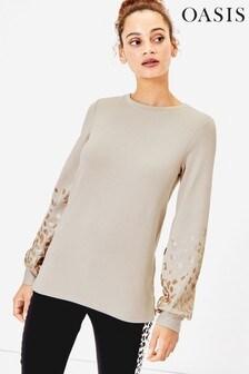 Oasis Natural Foil Animal Sweater
