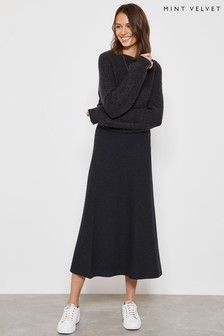Mint Velvet Grey Charcoal A-Line Midi Skirt