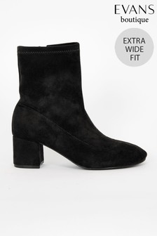 Evans Extra Wide Fit Black Block Heel Sock Boots