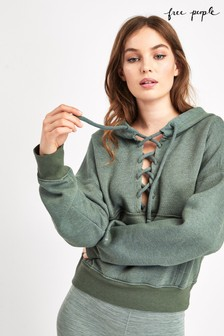 Free People Green Lace-Up Hoody
