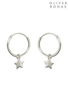 Oliver Bonas Sterling Silver Nova Star Drop Hoop Earrings