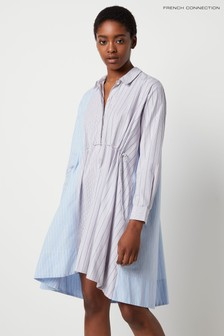 French Connection Natural Salma Stripe Mix Oversized Shirt Dress