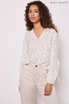 Mint Velvet White Ivory Tie Sleeve Blouse