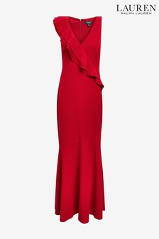 Lauren Ralph Lauren® Red Eugenalise Ruffle Evening Dress