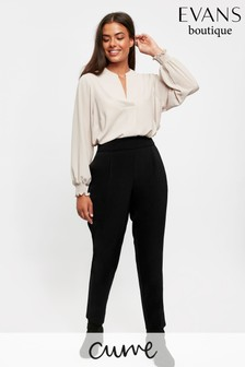 Evans Curve Black Pull-On Tapered Leg Trousers