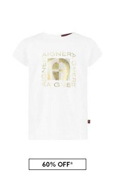 Aigner Baby Girls White Cotton Girls T-Shirt