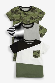 3 Pack Camo Colourblock T-Shirts (3mths-7yrs)