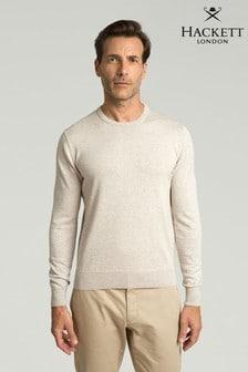 Hackett Grey Cotton Silk Crew Knitwear Jumper