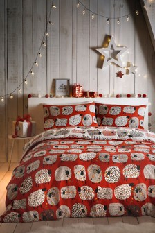 Christmas Dotty Sheep Reversible Duvet Cover and Pillowcase Set by Fusion