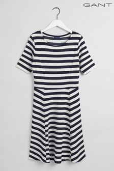 GANT Evening Blue Navy Striped Fit And Flare Dress