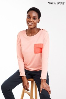 White Stuff Pink Utility Jersey Top
