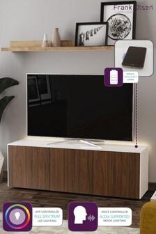 Frank Olsen Smart LED White and Walnut Large TV Unit