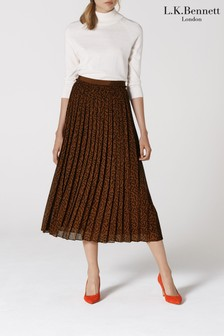 L.K.Bennett Brown Avery Pleated Midi Skirt