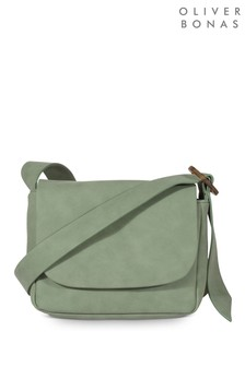 Oliver Bonas Green Tort Asymmetrical Strap Cross Body Bag