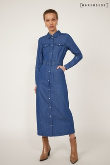 Warehouse Blue Midi Buckle Detail Shirt Dress