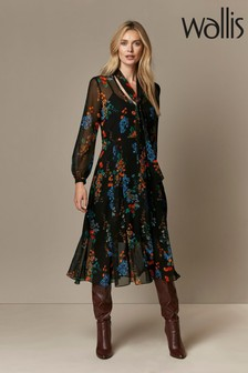 Wallis Black Oriental Shadow Tie Neck Midi Dress