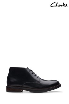 Clarks Black Leather Paulson Mid Boots