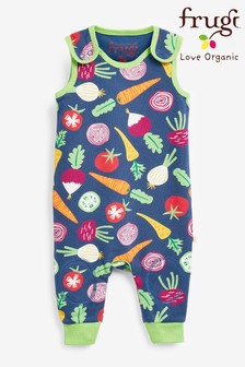 Frugi GOTS Organic Vegetable Print Kneepatch Dungarees