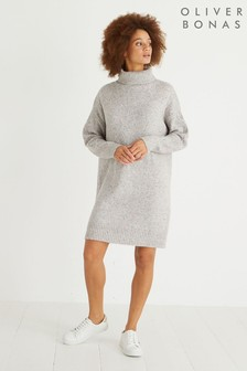 Oliver Bonas Grey Nepped High Neck Jumper Dress