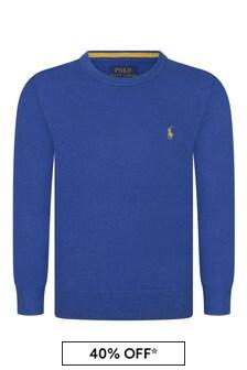 Boys Blue Fine Cotton Sweater