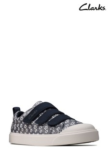 Clarks Navy Floral City Vibe K Canvas Shoes
