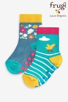 Frugi Organic Cotton Ducks Non Slip Grippy Socks 2 Pack