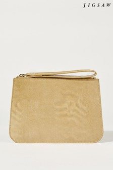 Jigsaw Camel Hensy Leather Clutch Bag