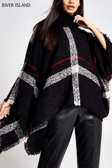 River Island Black Check Print Clara Roll Neck Cape