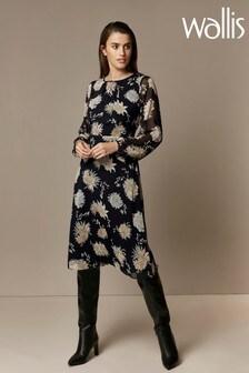 Wallis Black Oriental Midi Dress