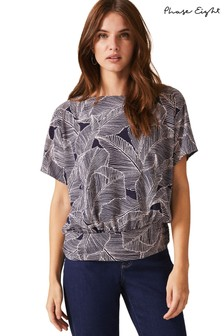 Phase Eight Blue Eileen Palm Texture Print Bubble Hem Top