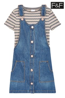 F&F Denim Pinny And Stripe Top Set