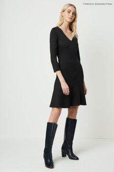 French Connection Black Sancia Lula Jersey V-Neck Dress