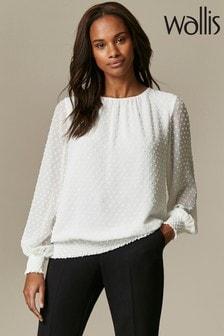 חולצה עם פס ורשת של Wallis דגם Polka Dot בשנהב