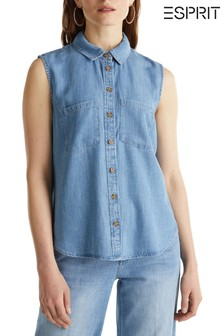 Esprit Blue Sleeveless Denim Blouse