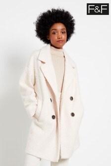 F&F Ivory Bouclé Snit Coat