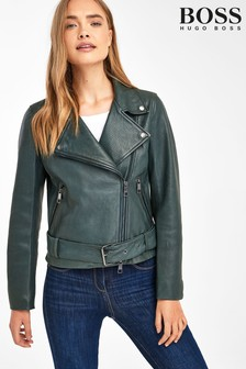 BOSS Green Jasoho Leather Biker Jacket