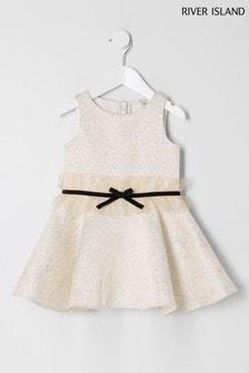 River Island Gold Jacquard Dress