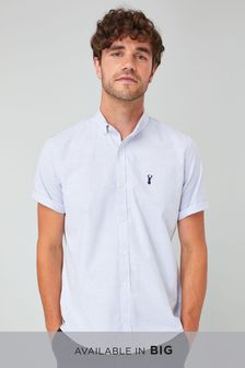 Slim Fit Short Sleeve Stripe Stretch Oxford