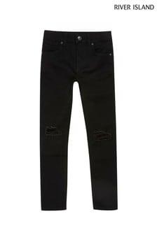 River Island Black Danny Super Skinny Ripped Knee Jeans