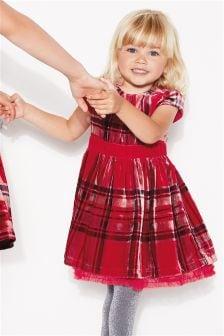 方格纹天鹅绒连衣裙 (3个月-6岁)